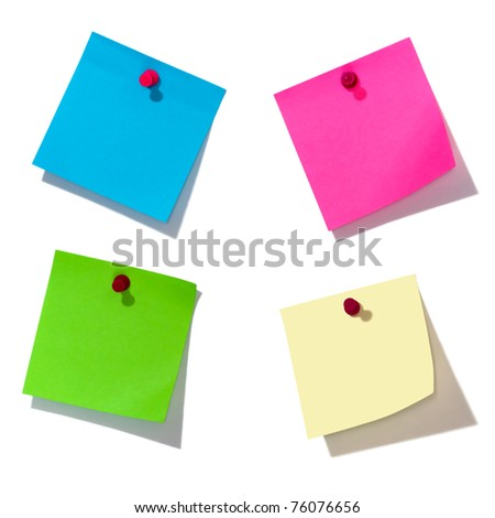 colorful notes over white background