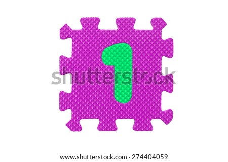 "Colorful number puzzle. Alphabet puzzle pieces isolated on white background. Number learning block for children education. The number  ""1"" is a set of alphabet made in the form of a puzzle,Easy to cut - stock photo"