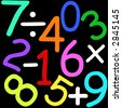 Colorful numbers and maths signs on black background - stock vector