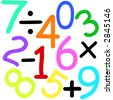 Colorful numbers and maths signs on white background - stock vector