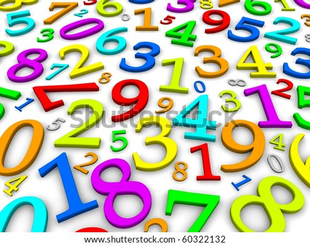 Colorful numbers background. 3d rendered illustration - stock photo
