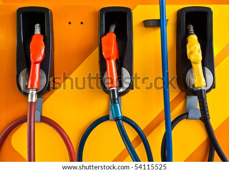 Colorful objects at gas-station - stock photo