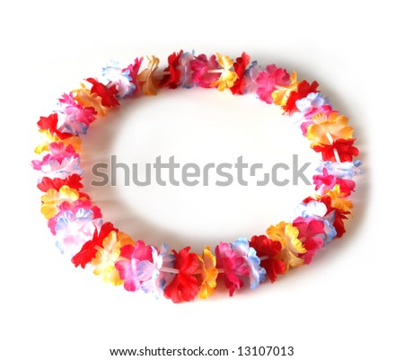 Colorful of a circle of lei flowers, isolated on white background - stock photo