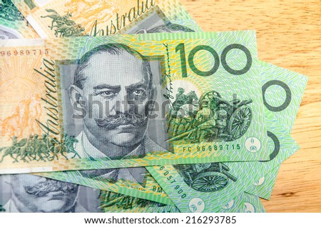 Colorful of Australian Currency - stock photo