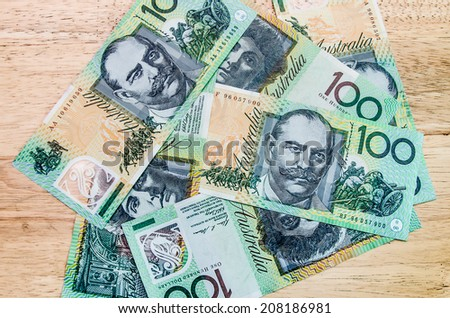 Colorful of Australian Currency  on wood table