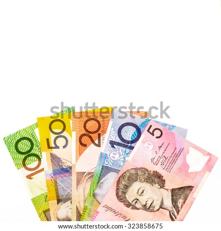 Colorful of Australian dollars currency,money on white background ready for exchange
