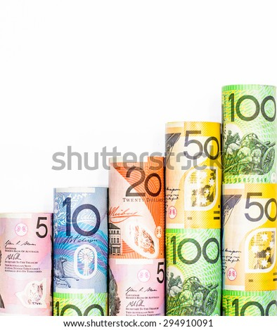 Colorful of Australian dollars on white background - stock photo