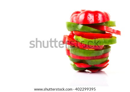 colorful of bell peppers isolated on white background with copy space. - stock photo