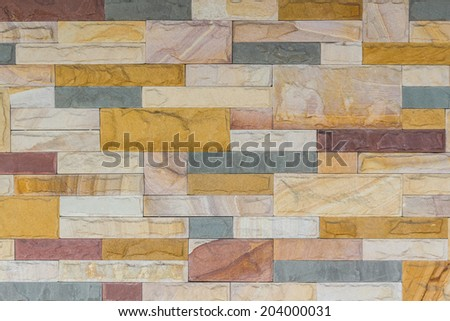 Colorful of brick wall texture background, stained tiled brickwork horizontal pattern.  - stock photo