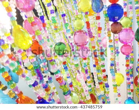 Colorful of crystal curtain on the door