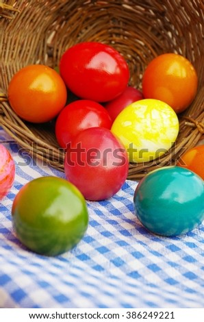 colorful of dyed easter eggs for easter celebrations