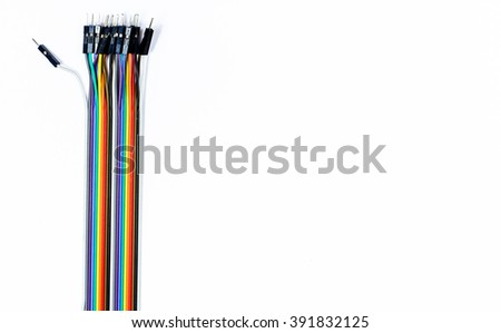 Colorful of electrical cables isolated on white background - stock photo