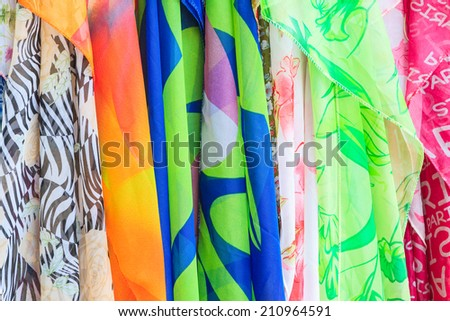 colorful of fabric texture - stock photo
