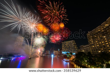colorful of firework in bangkok new year festival
