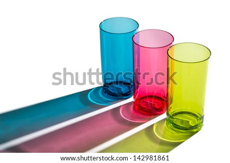 colorful of glass on white background