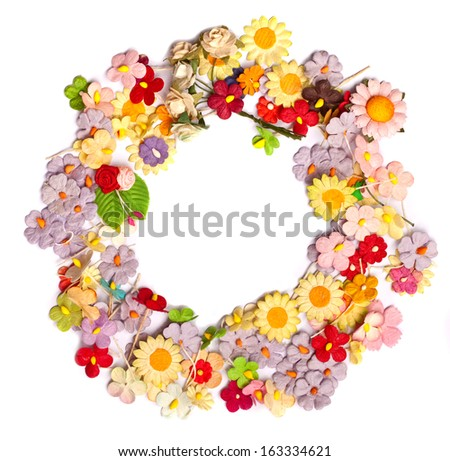 colorful of handicraft paper flower frame - stock photo