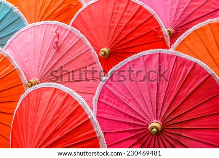 Colorful of handmade natural cotton umbrellas