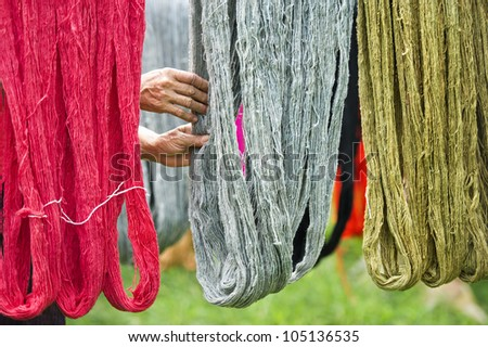 colorful of handmade threads - stock photo