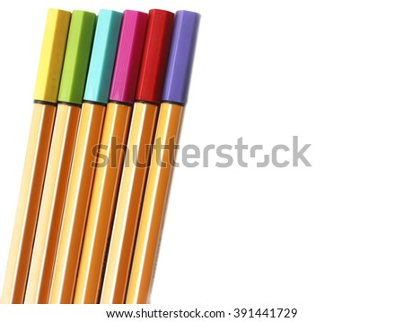 colorful of highlight pen Fine liner on white background - stock photo
