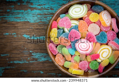 colorful of jelly and sugar  - stock photo
