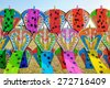 Colorful of kites on the booth. - stock photo