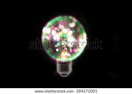 Colorful of lightbulb,isolated on black