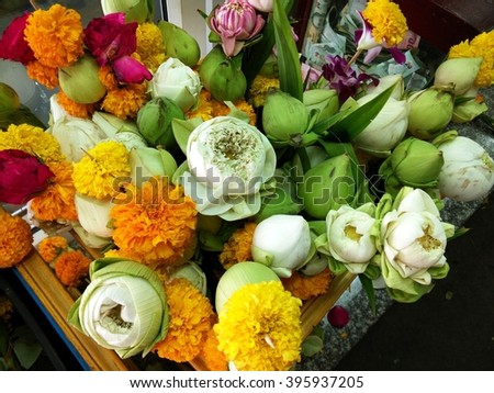 Colorful of Marigold, Lotus and Flowers for Praying - stock photo
