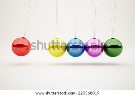 colorful of Newton's cradle - stock photo