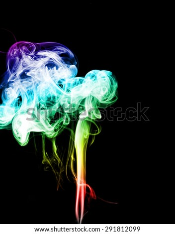 Colorful of smoke on black background.