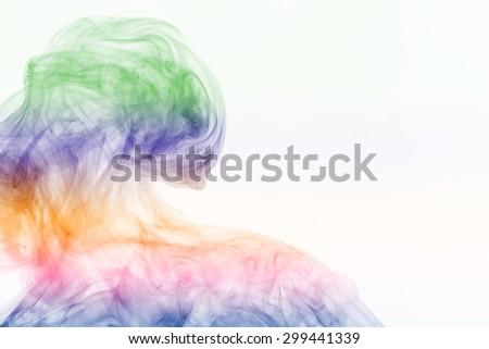 Colorful of Smoke on white background - stock photo