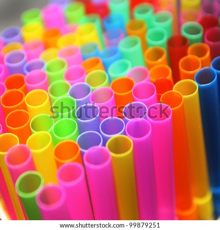 Colorful of straws for background - stock photo