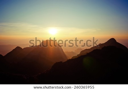 Colorful of sunset scene on Chiang Dao mountain in Chiang Mai, Thailand. Horizontal orientation.