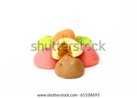 Colorful of thai mochi - stock photo