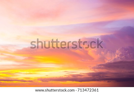 Colorful of the clouds and the sky at sunset,in twilight