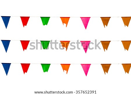 colorful of triangle flag on white background. isolated - stock photo
