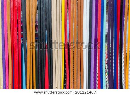 Colorful of trouser leather belt.