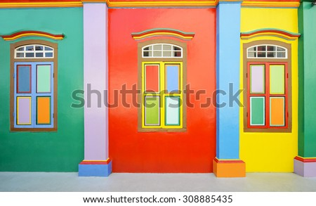 Colorful of wall and windows in indian culture - stock photo