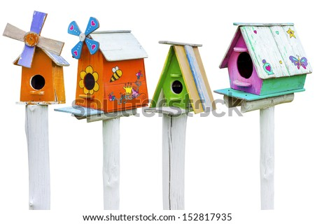 Colorful of wooden bird houses isolated on white background - stock photo