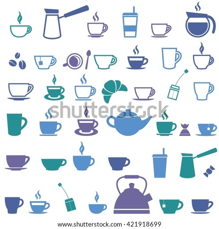 Colorful offee cup and Tea cup icons. Raster version - stock photo