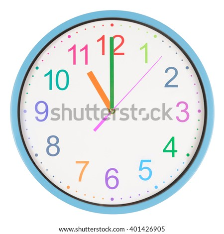Colorful office clock showing eleven o'clock isolated on white background