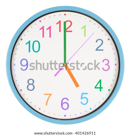 Colorful office clock showing five o'clock isolated on white background