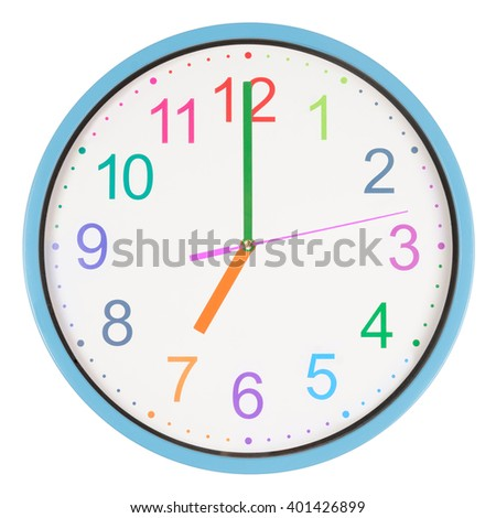 Colorful office clock showing seven o'clock isolated on white background - stock photo