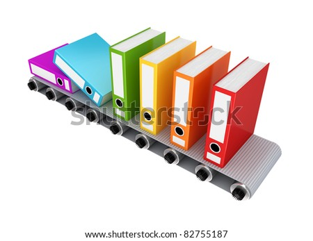 Colorful office folder on conveyor. 3D rendered. Isolated on white background.
