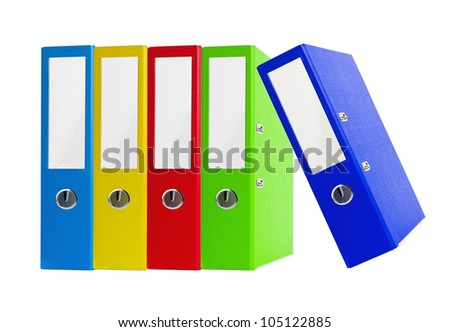 Colorful office folders isolated on the white background - stock photo