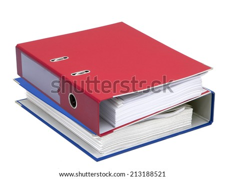 Colorful office folders on a white background - stock photo