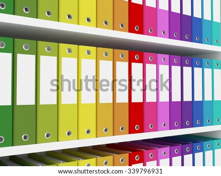 colorful office folders on the shelves