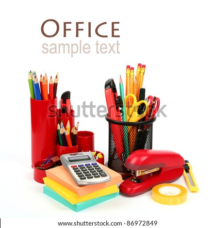 Colorful office supplies isolated on white background - stock photo