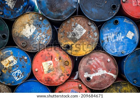 Colorful oil barrels backgrounds texture - stock photo