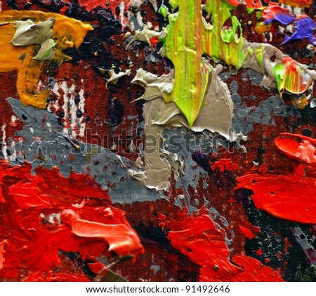 colorful oil painting texture closeup macro - stock photo