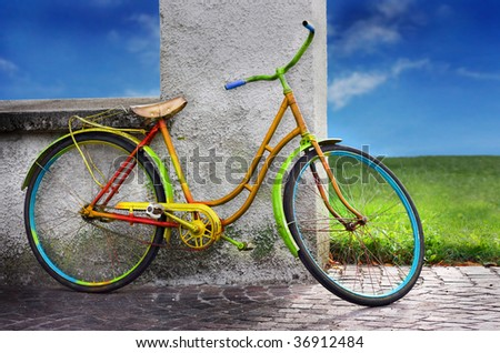 colorful old bike - stock photo